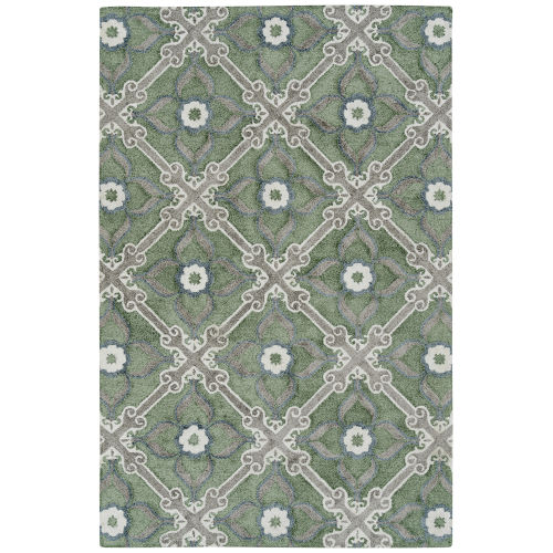 Peranakan Tile Sage and Ivory 9 Ft. 6 In. x 13 Ft. Indoor/Outdoor Rug