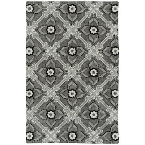 Peranakan Tile Gray, Silver and Black Indoor/Outdoor Rug