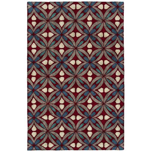 Peranakan Tile Red and Denim Indoor/Outdoor Rug
