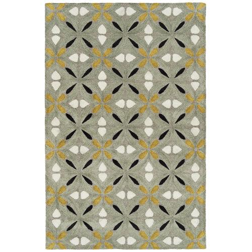 Peranakan Tile Gold and Gray Indoor/Outdoor Rug