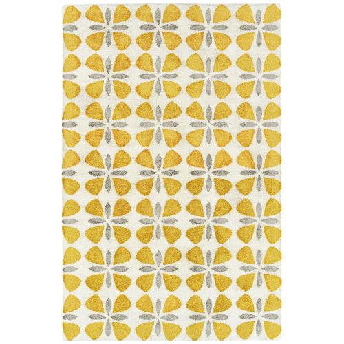Peranakan Tile Yellow and Gray 2 Ft. x 6 Ft. Indoor/Outdoor Rug