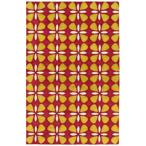Peranakan Tile Red and Yellow Indoor/Outdoor Rug