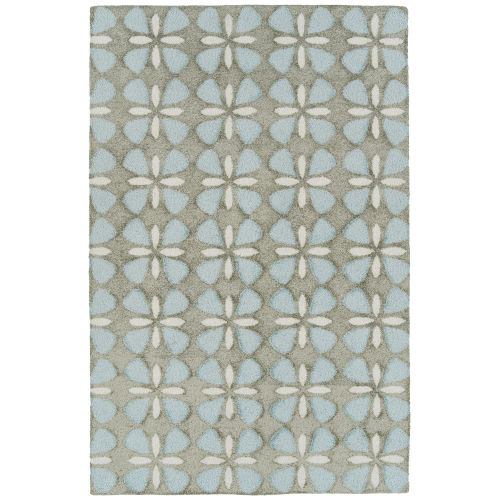 Peranakan Tile Light Blue and Gray Indoor/Outdoor Rug