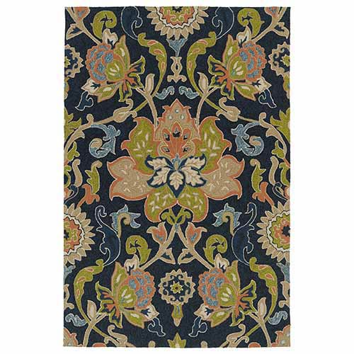 Home and Porch Navy Rectangular: 5 Ft. x 7 Ft. 6 In. Rug