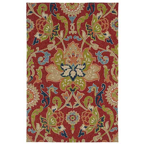 Home and Porch Red and Salmon Rectangular: 5 Ft. x 7 Ft. 6 In. Rug