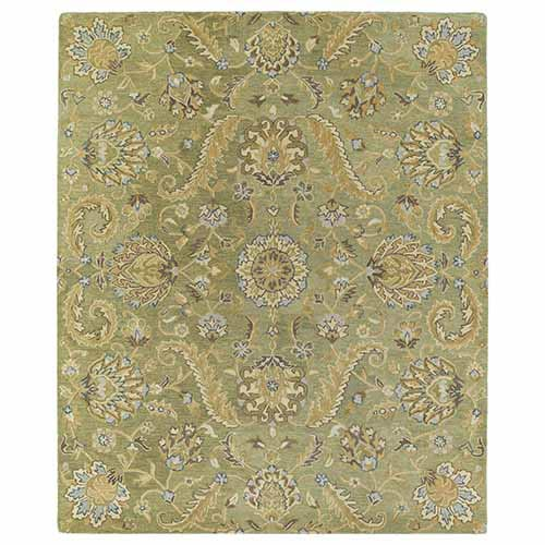 Kaleen Rugs Helena Collection Virgil Green Rectangular: 5 Ft. x 7 Ft. 9 In. Rug