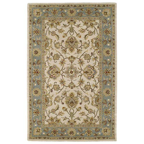 Kaleen Rugs Khazana Ivory and Tealish Green Rectangular: 9 Ft. 6 In. x 13 Ft. Rug