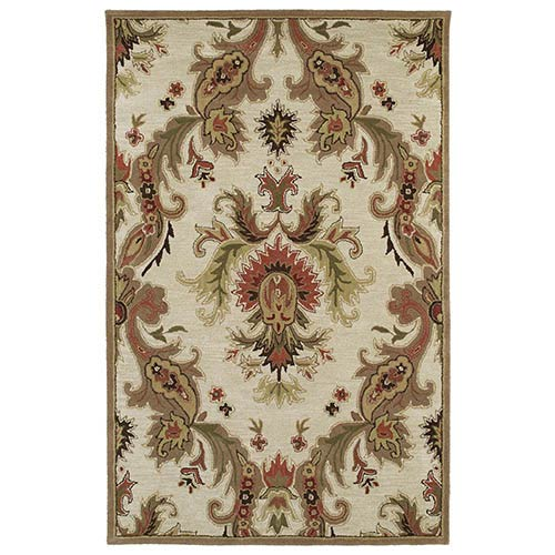 Kaleen Rugs Khazana Linen and Beige Rectangular: 9 Ft. 6 In. x 13 Ft. Rug