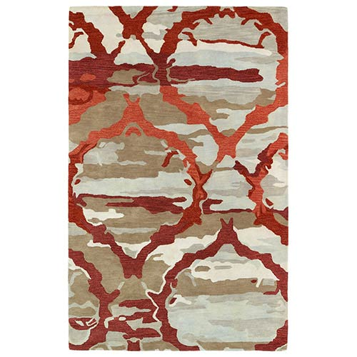 Kaleen Rugs Brushstrokes Red BRS02 Rectangular: 5 Ft. x 7 Ft. 9 In. Rug