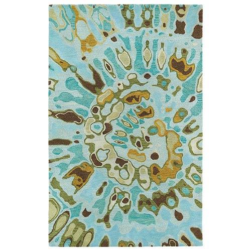 Kaleen Rugs Brushstrokes Teal BRS04 Rectangular: 5 Ft. x 7 Ft. 9 In. Rug
