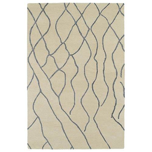 Kaleen Rugs Casablanca Ivory and Sky Blue Rectangular: 5 Ft. x 8 Ft. Rug