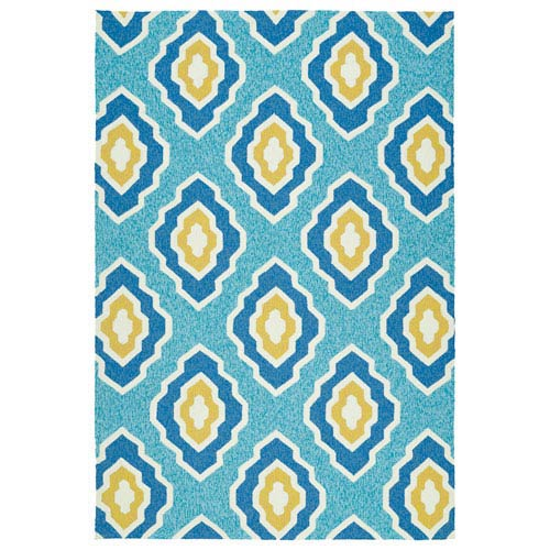 Escape Blue and Gold Rectangular: 2 Ft x 3 Ft Rug