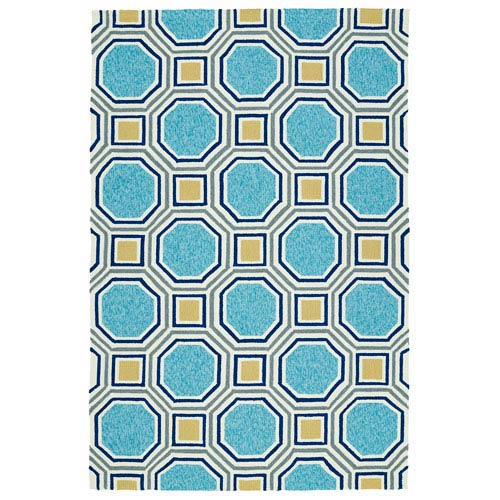 Escape Blue and Yellow Rectangular: 2 Ft x 3 Ft Rug