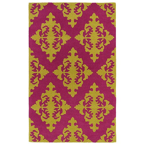Kaleen Rugs Evolution Pink and Gold Rectangular: 5 Ft. x 7 Ft. 9 In. Rug