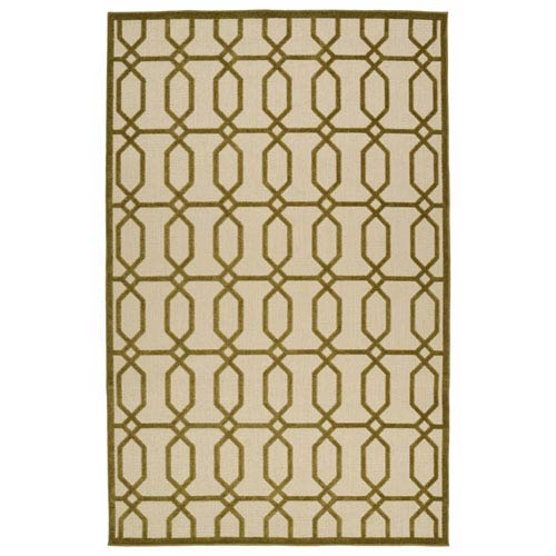 A Breath of Fresh Air  Olive and Beige Rectangular: 3 Ft 10 In x 5 Ft 8 In Rug