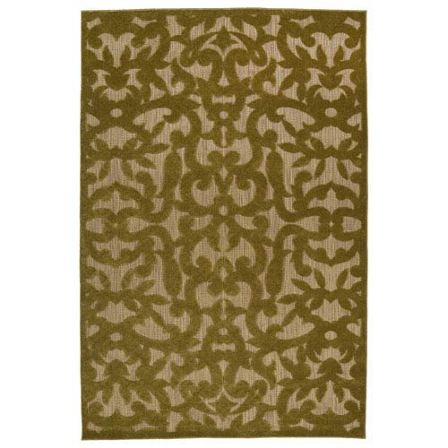 A Breath of Fresh Air  Olive and Light Brown Rectangular: 2 Ft 1 In x 4 Ft Rug