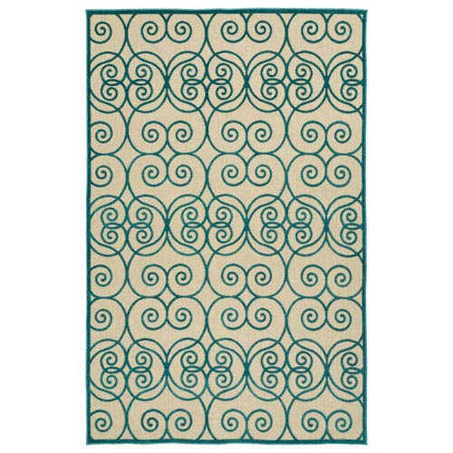 A Breath of Fresh Air  Blue and Beige Rectangular: 2 Ft 1 In x 4 Ft Rug