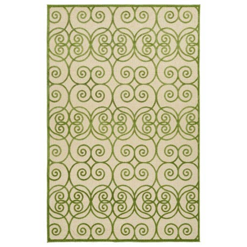 A Breath of Fresh Air  Green and Beige Rectangular: 2 Ft 1 In x 4 Ft Rug