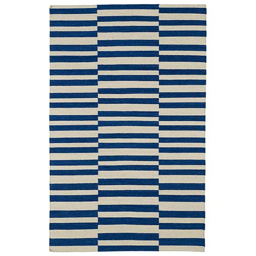 Kaleen Rugs Nomad Navy and Beige Rectangular: 5 Ft. x 8 Ft. Rug