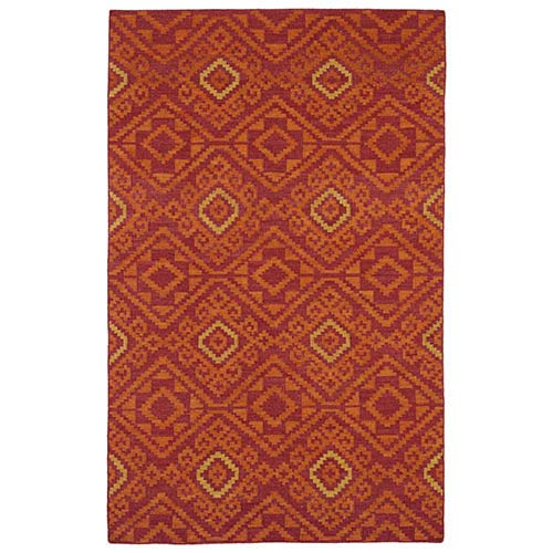 Kaleen Rugs Nomad Red and Gold Rectangular: 5 Ft. x 8 Ft. Rug