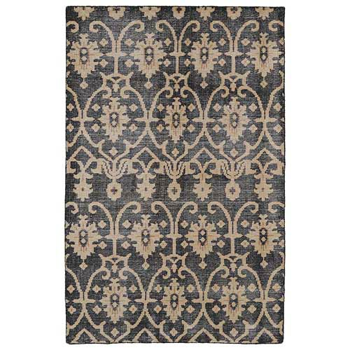 Kaleen Rugs Restoration Black and Charcoal Rectangular: 5 Ft. 6 In. x 8 Ft. 6 In. Rug