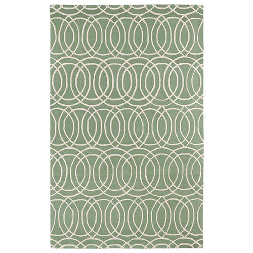 Kaleen Rugs Revolution Mint and Ivory Rectangular: 5 Ft. x 7 Ft. 9 In. Rug