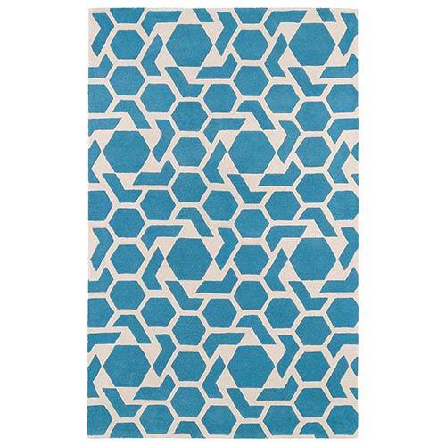 Kaleen Rugs Revolution Blue Rectangular: 5 Ft. x 7 Ft. 9 In. Rug