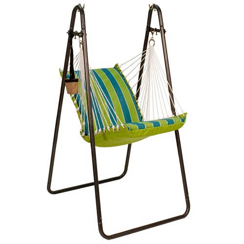 Algoma Net Company Hanging Chair with Stand Set - Wickenburg Teal/ Cobble Willow