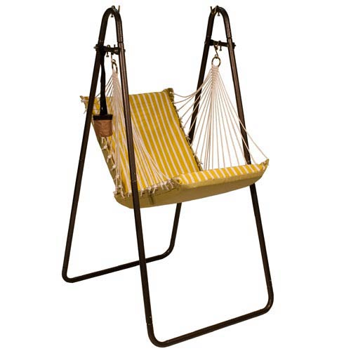 Sunbrella Hanging Chair with Stand Set Citron