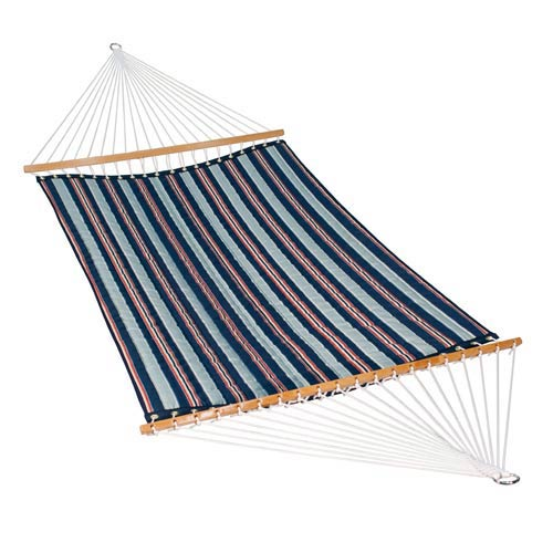 Algoma Net Company 13 Foot Quilted Fabric Hammock - Kingston Stripe Arbor/Arbor Blue Solid