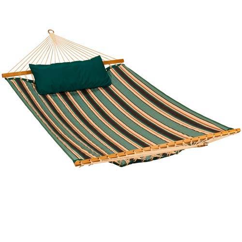 Algoma Net Company 11 Foot Reversible Sunbrella Quilted Hammock - Token Surfside Stripe/ Canvas Teal