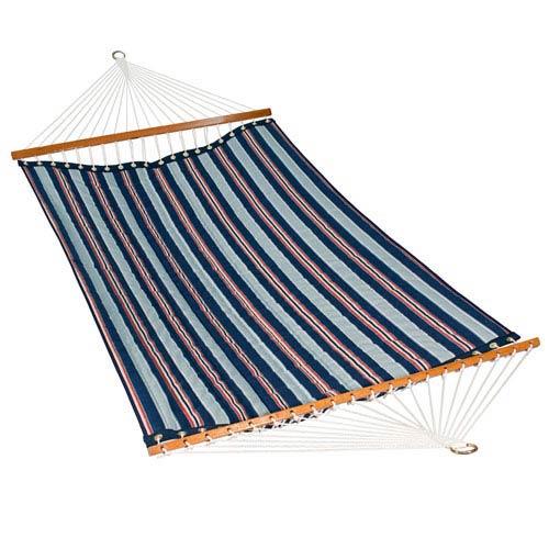 Algoma Net Company 11 Foot Polyester Fabric Hammock - Kingston Stripe Arbor/Arbor Blue Solid