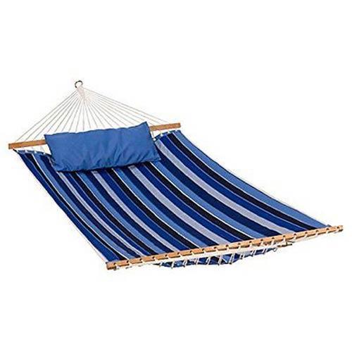 Algoma Net Company 13 Foot Reversible Sunbrella Quilted Hammock - Token Surfside Stripe/ Canvas Teal