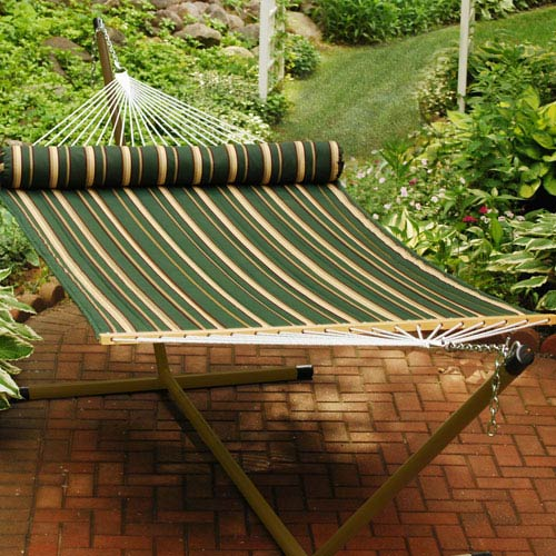 Double Quilted Reversible Green Striped Hammock with Pillow