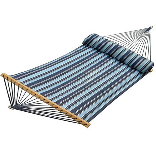 Double Quilted Reversible Blue striped Hammock with Pillow
