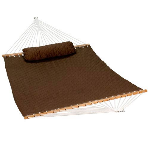 13-foot Diamond Quilted Hammock w/ Matching Pillow, Chocolate