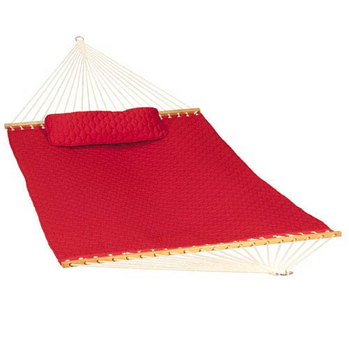Algoma Net Company 13-foot Diamond Quilted Hammock w/ Matching Pillow, Red