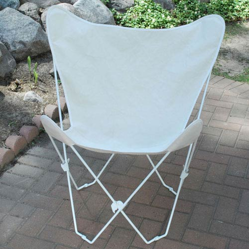 Algoma Net Company White Butterfly Chair with Natural Cover
