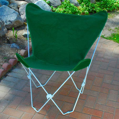 Algoma Net Company White Butterfly Chair with Hunter Green Cover