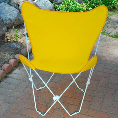 Algoma Net Company White Butterfly Chair with Sunny Gold Cover