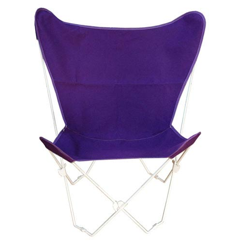 Algoma Net Company White Butterfly Chair with Purple Cover