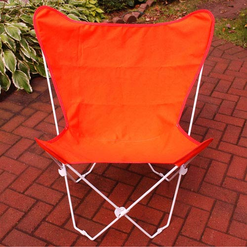 Algoma Net Company White Butterfly Chair with Orange Cover
