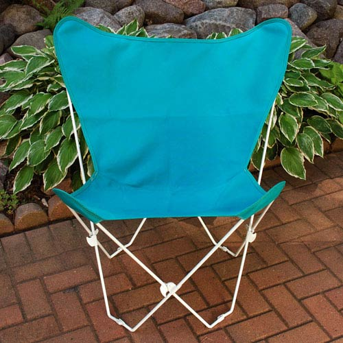 Algoma Net Company White Butterfly Chair with Teal Cover
