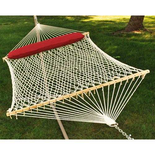 Double Cotton Rope Hammock with Pillow