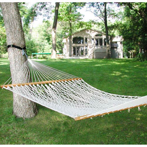 White Domestic 13 Foot Double Cotton Rope Hammock