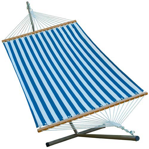 Blue Striped 11 Ft. Fabric Hammock with Stand