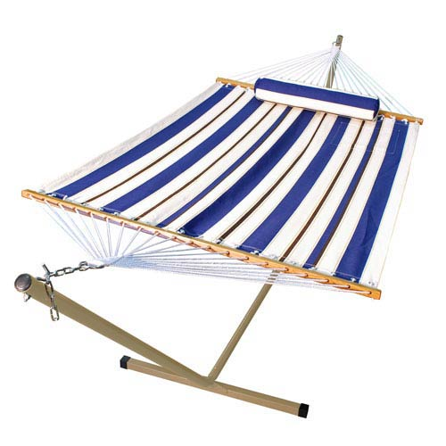 Algoma Net Company Blue Striped 11 Ft. Hammock with Pillow and Stand