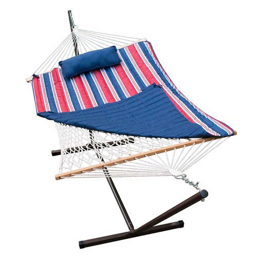 Cotton Rope Hammock, Stand, Pad and Pillow Combination, Multi