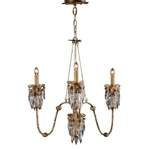 Flambeau Lighting Venetian Hand Painted Beige Patina Three Light Chandelier