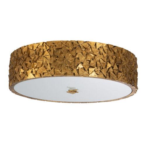 Mosaic Gold Leaf with Antique Three-Light Flush Mount